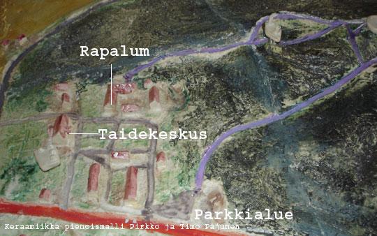Rapalum-näyttelyssä on Rapolanharjua kuvaava, kosketeltava pienoismalli näkövammaisille.