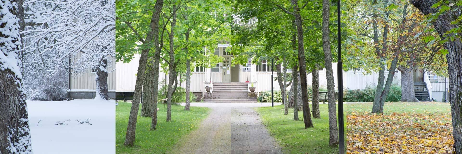 Voipaalan taidekeskuksen päärakennus neljänä vuodenaikana samassa kuvassa