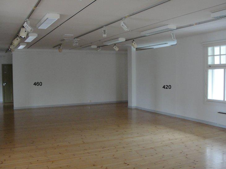 Voipaalan taidekeskuksen näyttelytila. 2.krs: seinät 7,2/4,2 m.