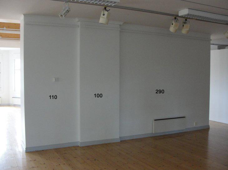 Voipaalan taidekeskuksen näyttelytila. 2.krs: seinä 1,1/1/2,9 m.