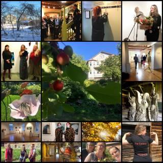 kuvakoosteessa 16 kuvaa vuoden varrelta: ihmisiä, näyttelytiloja, teoksia, puutarhakuvia