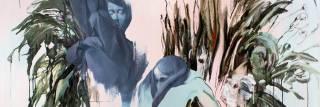 lähikuva maalauksesta: siveltimen jälkiä viitaten vihreitä valumia, harmaita kasvoja