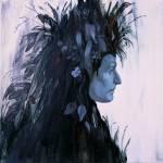 maalauksessa kasvoprofiili, jolla päässä jonkinlaisia sulkia muistuttavia siveltimenvetoja.