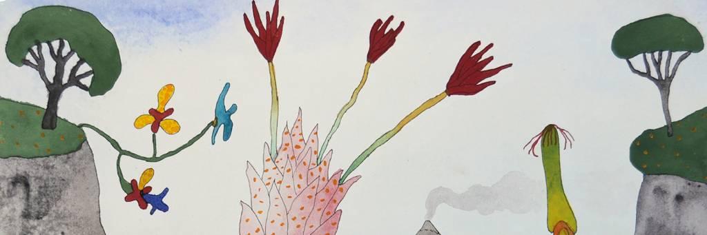 Maalaus, jossa puilta ja muilta kasveilta näyttäviä osia.
