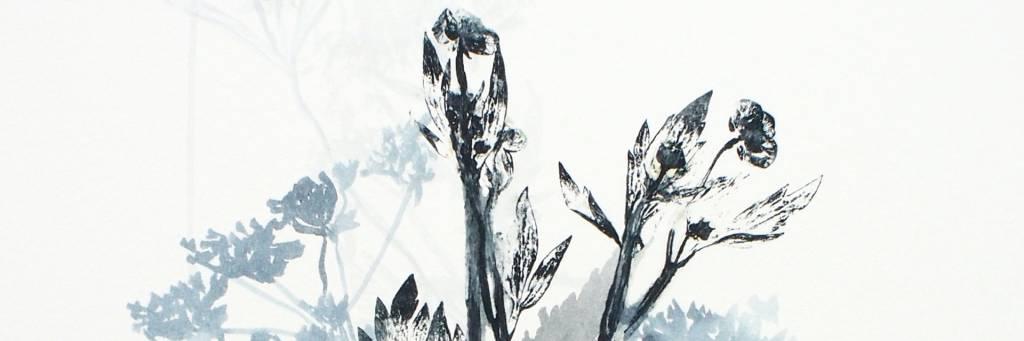 sinistä ja mustaa väriä, kasveja muistuttavia muotoja.